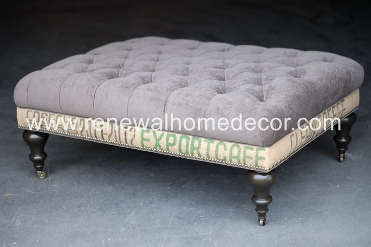 Custom Order Large Upholstered Tufted Coffee Table Ottoman Tufted Coffee Table Ottoman Sold