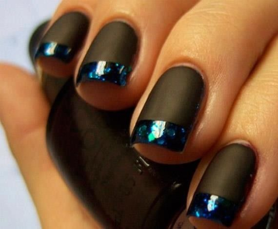 Nail art Natale, nero french nera
