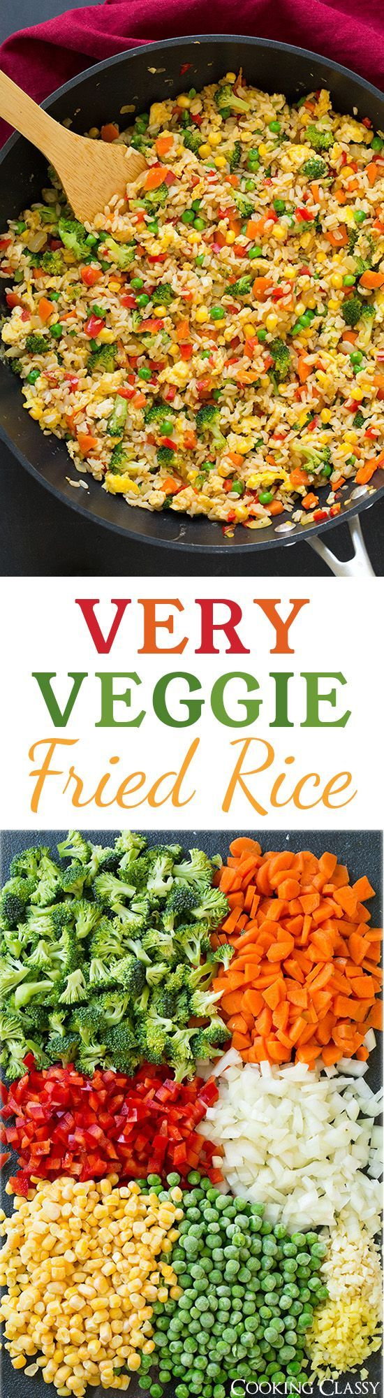 Very Veggie Fried Rice - made healthier with brown rice eggs broccoli red bell pepper carrots peas and corn. Can also add chicken to it.
