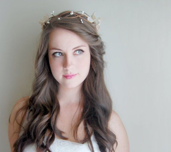 Bridal Flower Crown, Woodland Bridal Hair Accessories - Antique Taupe and White Crown on Etsy, $55.00