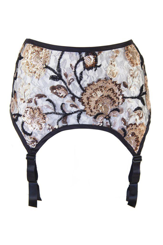 sequin gold suspender belt garter stockings 4 strap sheer lace applique mesh floral