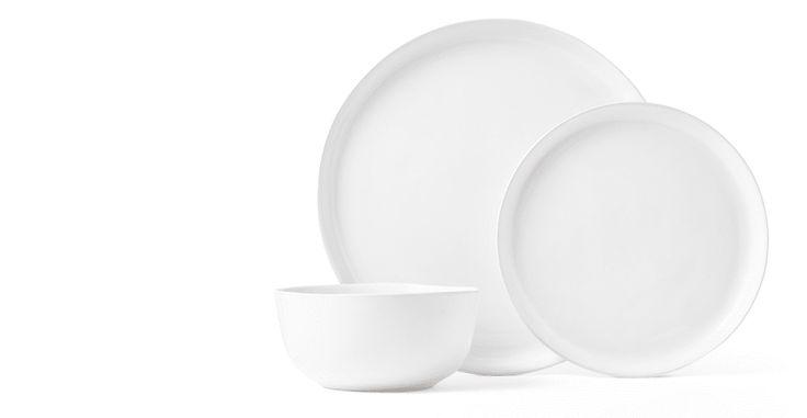 Kobe 12-teiliges Geschirrset aus Ton, Weiß | made.com