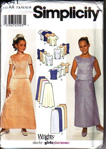 Simplicity 7041, uncut, for sizes 7 to 14 for girls. great for a wedding a nice evening out. available at http://www.buggsbooks.com