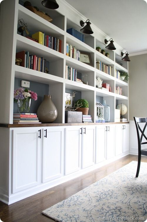 Dining Room {pretty} Organization (DIY built ins using cabinets as bases) from thriftydecorchick...
