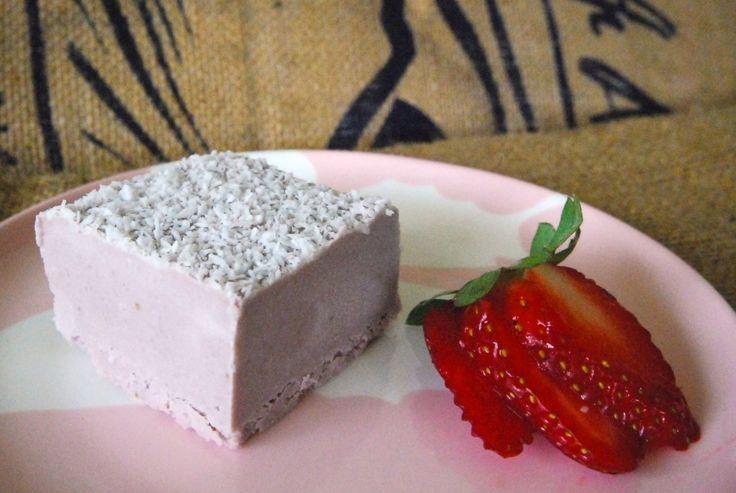 Raw strawberry fudge.  Takes 10 minutes to make and it's gluten free, dairy free, sugar free. Yum!