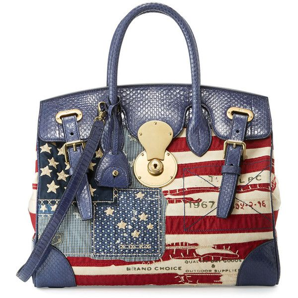 Ralph Lauren American Flag Ricky Bag ($2,950) ❤ liked on Polyvore featuring bags, handbags, handbags top handle bags, ralph lauren tote, tote purses, handbags purses, tote hand bags and zipper tote