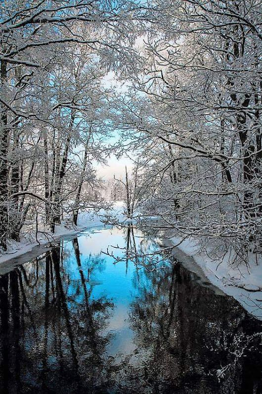 Winter sky reflected