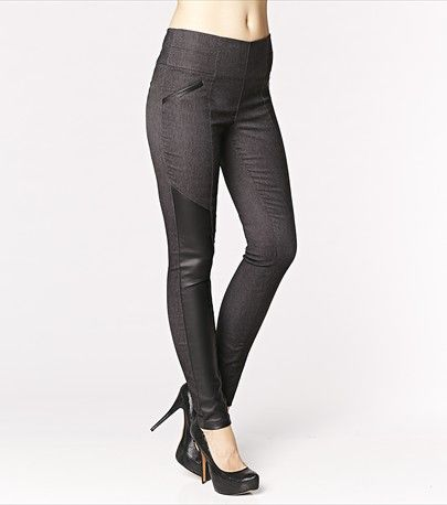 #DYNHOLIDAY Add some edge to your wardrobe with some faux leather details! These skinny pants look fabulous with our tank featuring faux leather panels.