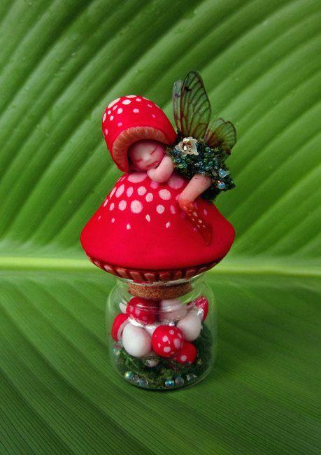 Mushroom Fairy Bottle Moss Terrarium by Celia by scarletsbones, $78.00