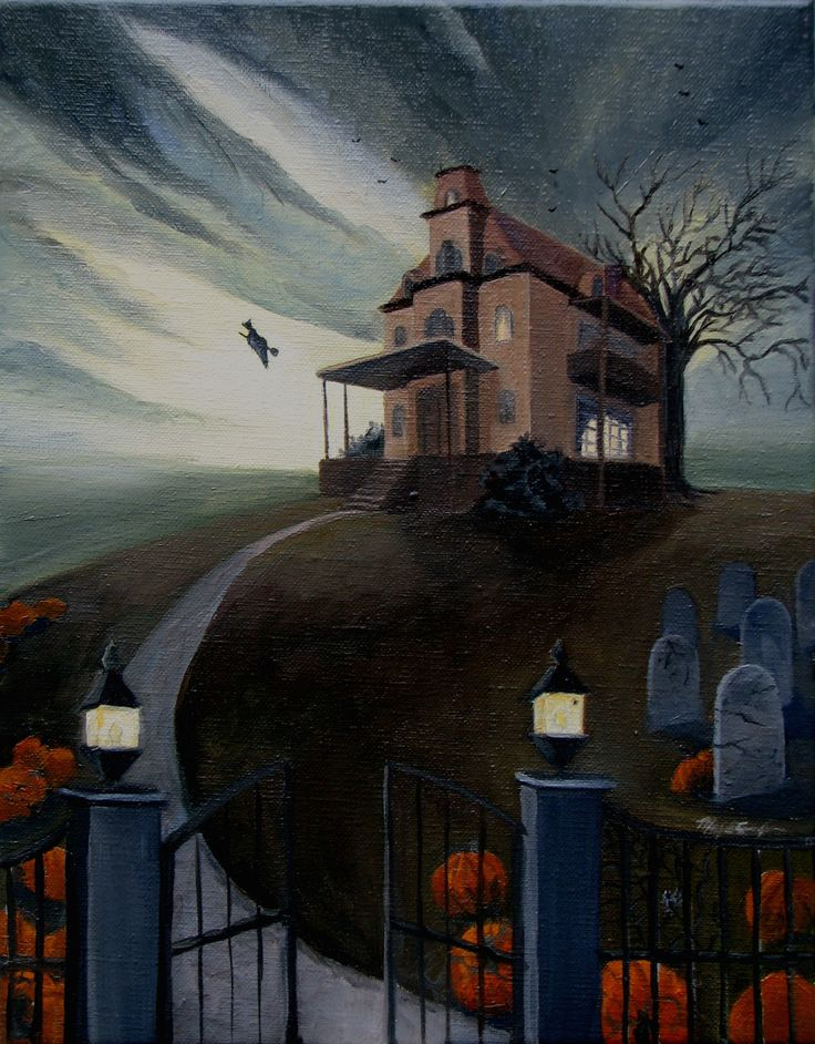 haunted house print halloween