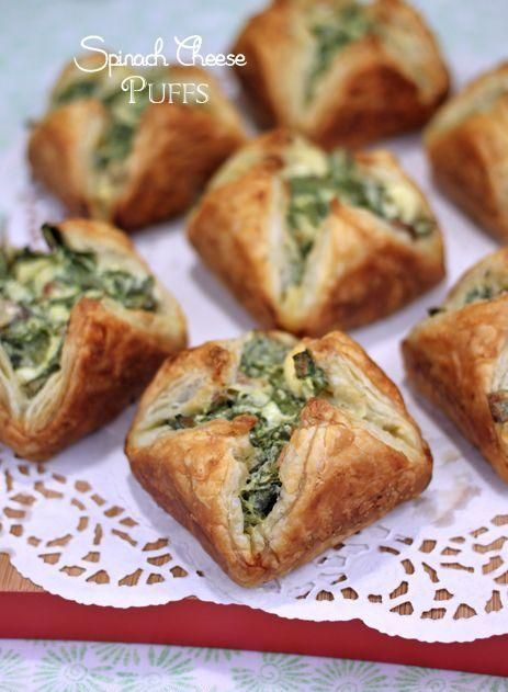 Spinach Bacon Cheese Puffs * * *  4 ounces softened cream cheese, 1 large egg, 1 tablespoon olive oil, 2 packed cups chopped fresh spinach, ...