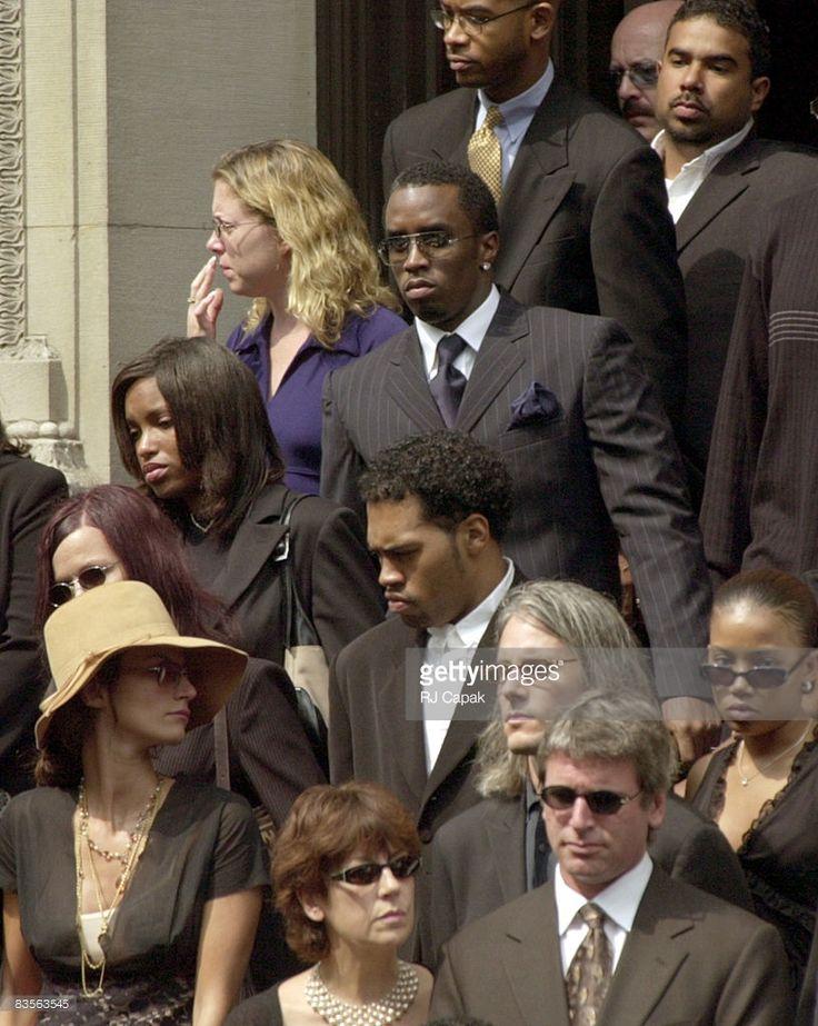 Sean 'Puffy' Combs at Aaliyah's funeral
