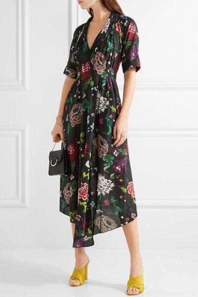 Adam Lippes - Gathered Floral-print Cotton-voile Dress - Black - US10
