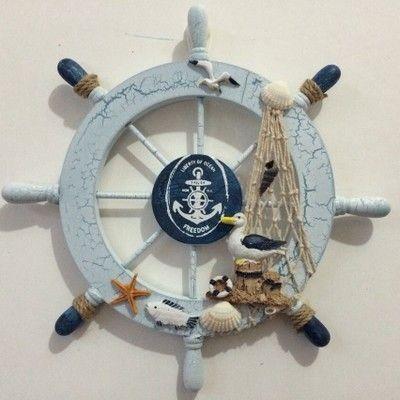 Хороший дерево корабль лодка руль стены двери висит синий средиземноморском стиле навигацион ремесла купить на AliExpress