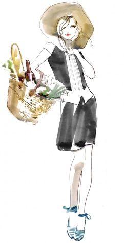 Celebrating Bastille Day in Style, Vogue's champion bargain hunter Lynn Yaeger shows us how we can all be (and look) French come Bastille Day. Illustration by Sara Singh