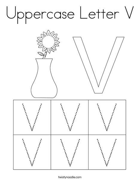 Uppercase Letter V Coloring Page - Twisty Noodle in 2020 ...