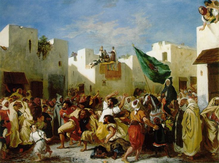 Delacroix, Fanatics of Tangier, 1838. Delacroix created this art work after witnessing first hand this scene when visiting Africa, first creating a quick sketch (now in the Louvre) and following on to create this painting showing the dramatic and emotional through erotic and historical subject matter.