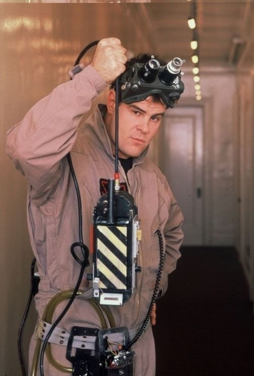 Dan Aykroyd as Ray Stantz in a publicity still for #Ghostbusters (1984).