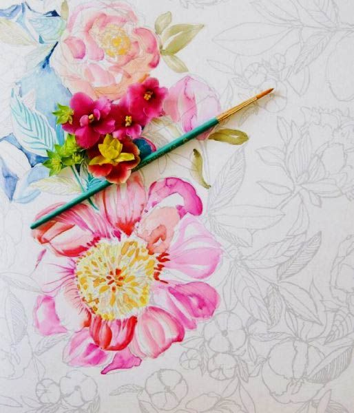 Beginner watercolor painting with painterly days Coloring book watercolor