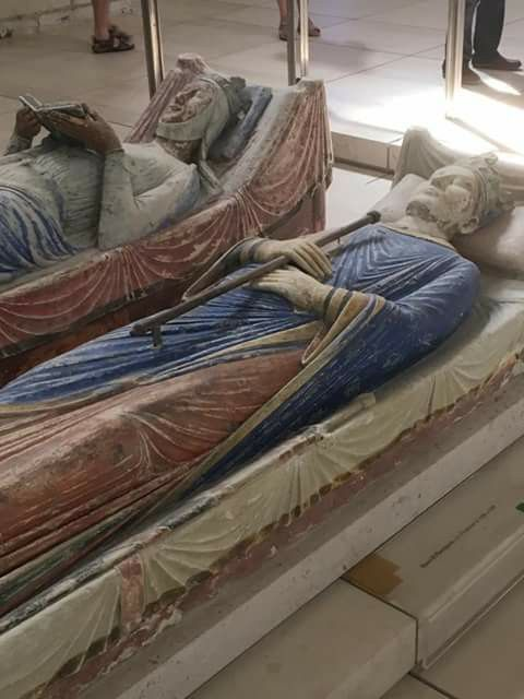 Effigies on the tombs of Eleanor of Aquitaine and Henry II,Fontevraud France