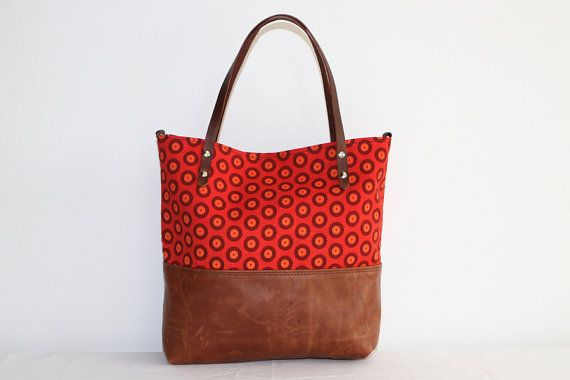 The Ana Tote \\ Brown Leather Tote Bag with red Shweshwe print