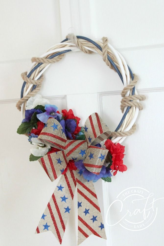 Dollar Store Patriotic Wreath – Red, White, and Blue Crafting Fun
