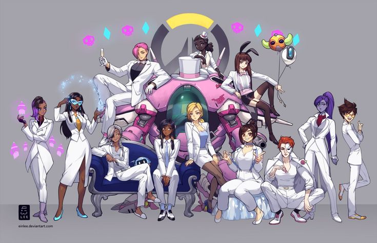 Look at Pharah and Mercy looking at each other!!! Who is the one above D.Va's mecha?