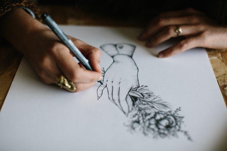 illustration gravure à la main pour le photographe Yoris Couegnoux - logo - identité visuelle - studio waaz -