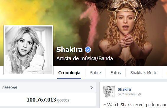 Shakira ultrapassa os 100 milhões de fãs no Facebook
