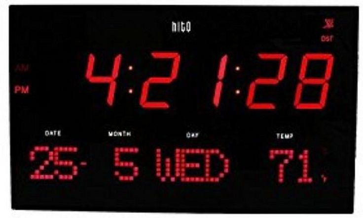 Hito extra large atomic radio #control led wall clock red #multi #function displa,  View more on the LINK: http://www.zeppy.io/product/gb/2/162223445811/