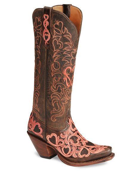 Tony Lama Signature Series Embroidered Hearts Cowgirl Boots - Snip Toe