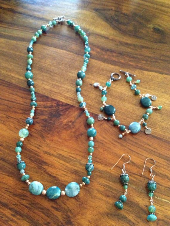 Natural Stone Green Moss Agate Jewelry Set With Copper.