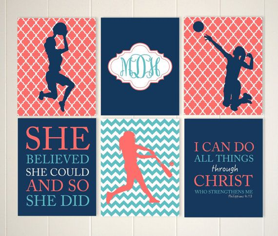 Basketball Girl Wall Art, Softball Room Decor, Female Volleyball,  Motivational Girls Art, Monogram Art, Custom Colors And Sports, Set Of 6