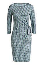 Stretchy jersey jurk + print en knoopeffect