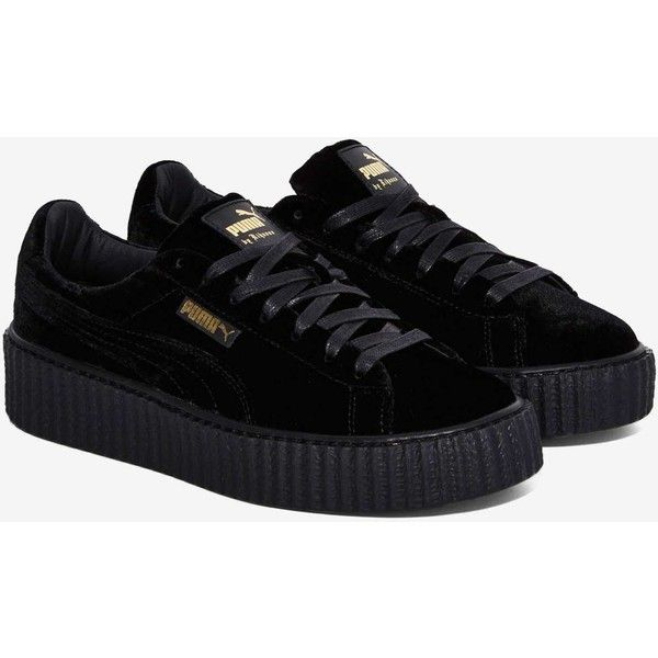 Puma x Rihanna Rebel Velvet Creeper Sneaker ($150) ❤ liked on Polyvore featuring shoes, sneakers, puma shoes, puma trainers, platform lace up shoes, velvet shoes and platform sneakers