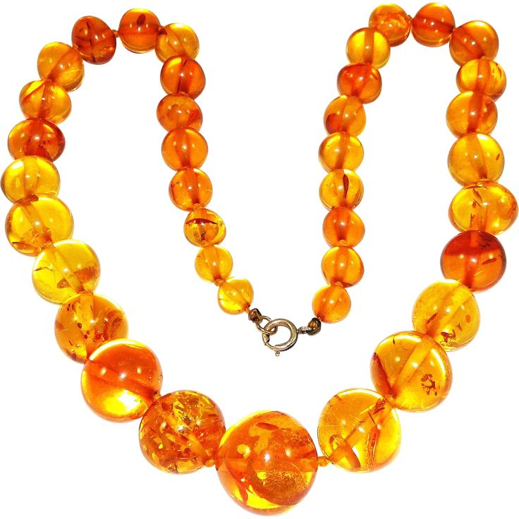Vintage Transparent Baltic Amber Necklace Honey Yellow Graduated Beads