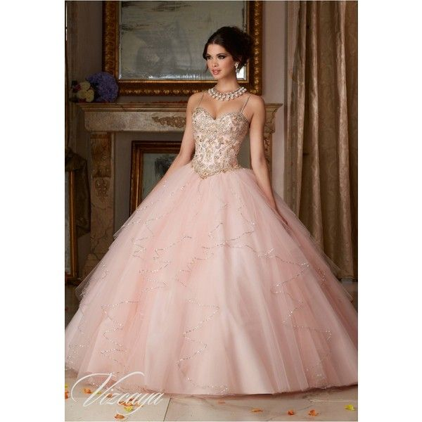 Quinceanera Dresses – Vizcaya Gown Dress Style 89101 ❤ liked on Polyvore featuring dresses, gowns, beaded ball gown, brown evening gowns, ruffle gown, brown evening dress and brown gown