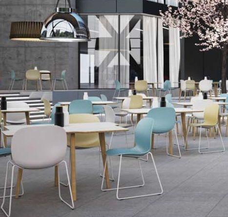 Deze RBM ' Noor' 6060 stoel is modern en zit erg goed door zijn ergonomische vormgeving. Past goed in kantine- en vergaderruimten. Te bestellen op: Gezondkantoor.nl