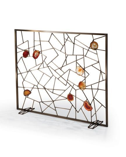 Venice Fireplace Screen  Transitional, MidCentury  Modern, Metal, Stone, Fireplace Mantels  Accessory by Tuell  Reynolds