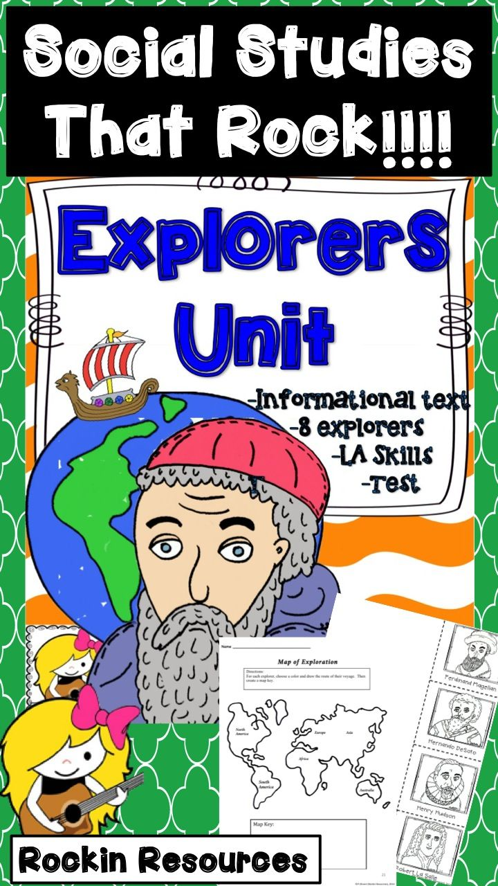 Explorers Unit / This unit has its own Informational Text on 8 explorers! It was divided up into two units of study. Tons of activities, foldables, 2 study guides and tests. #explorers #history #rockinresources