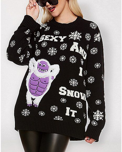 d2b8526d189 Sexy And I Snow It Abominable Snowman Light Up Ugly Christmas Sweater -  Spencer's