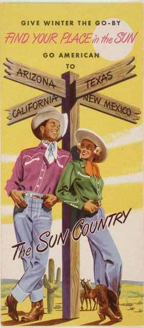 the sun country - advertisement for travel in US, 1950s