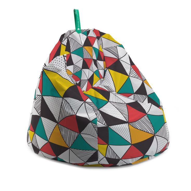 Fotoliu bean bag - Triunghiuri colorate