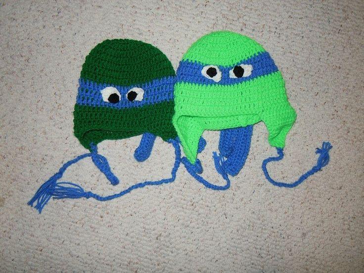 Free Crochet Pattern Turtle Hat : Free crochet Teenage Mutants Ninja Turtles hat pattern