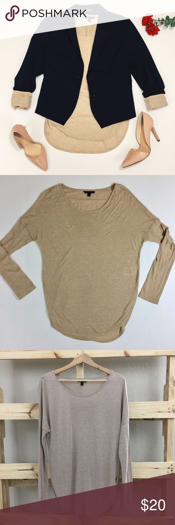 Banana Republic long sleeve top Simple beige long sleeve shirt by Banana Republic. Very light and flattering, with a scoop neck. In perfect condition. Worn just once, unfortunately a terrible color for my pasty skin tone 🙈 Banana Republic Tops Tees - Long Sleeve