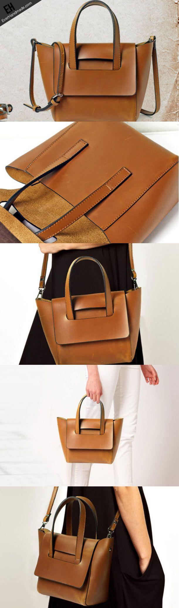 Handmade Leather handbag shoulder bag large tote for women