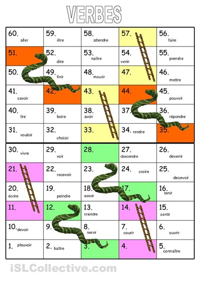 snakes & ladders verb game…great and fun way for ESL students to practice speaking/making sentences