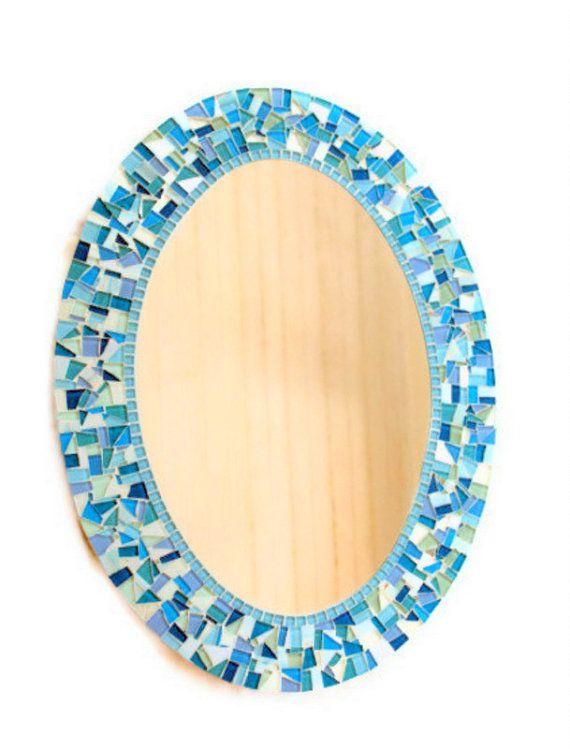 Blue And Aqua Oval Mosaic Mirror Beach House Wall Decor