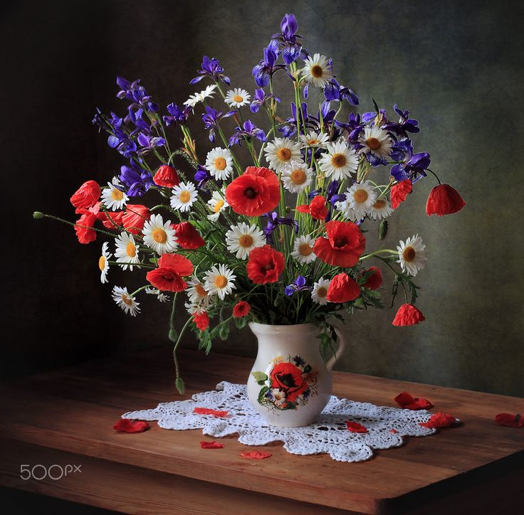 Still life with daisies and poppies - null