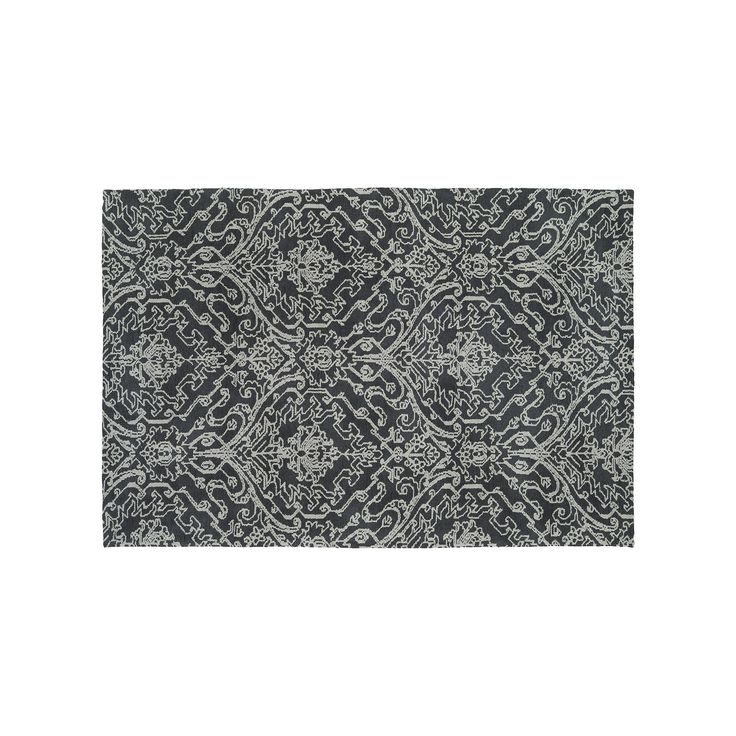 Kaleen Cozy Toes Serenity Damask Rug, Grey (Charcoal), Durable